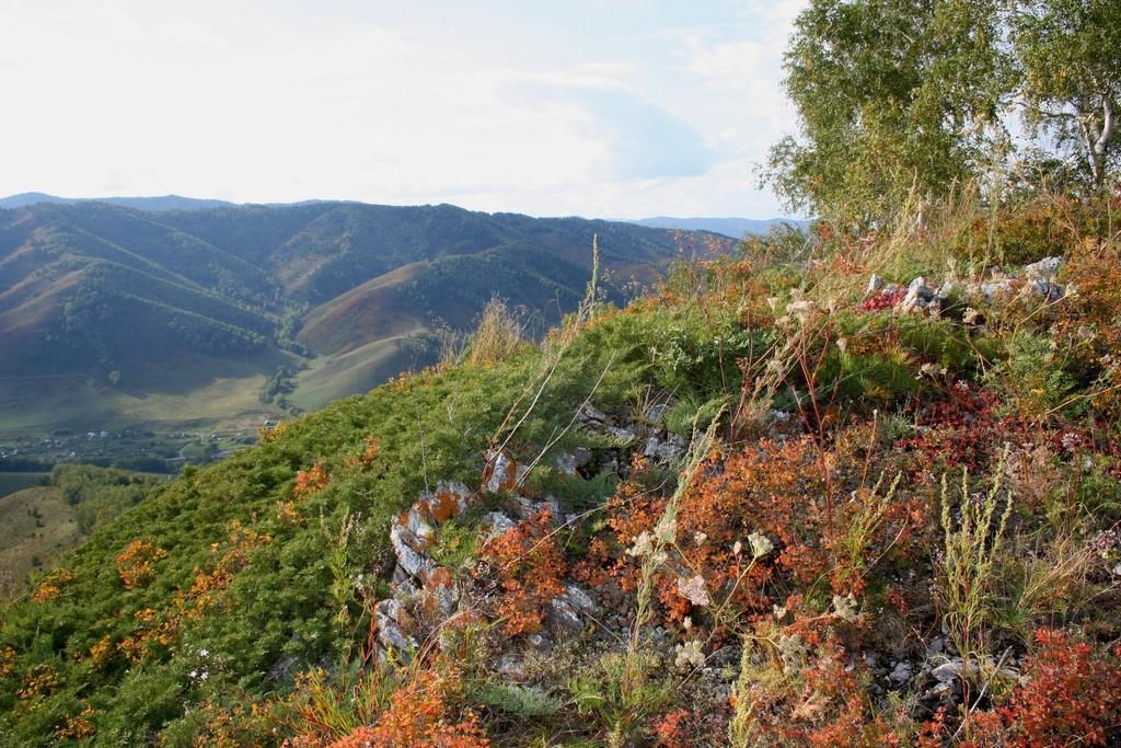 Вид прямо сверху над участком. Внизу виден край села Сараса. Сам участок не виден, т.к. расположен ближе, под горой