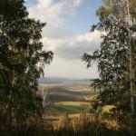 Вид с горы над участком - на село Алтайское и озеро рядом с ним